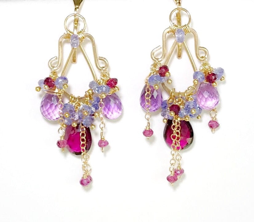 Garnet Amethyst Tanzanite Gold Multicolor Chandelier Earrings