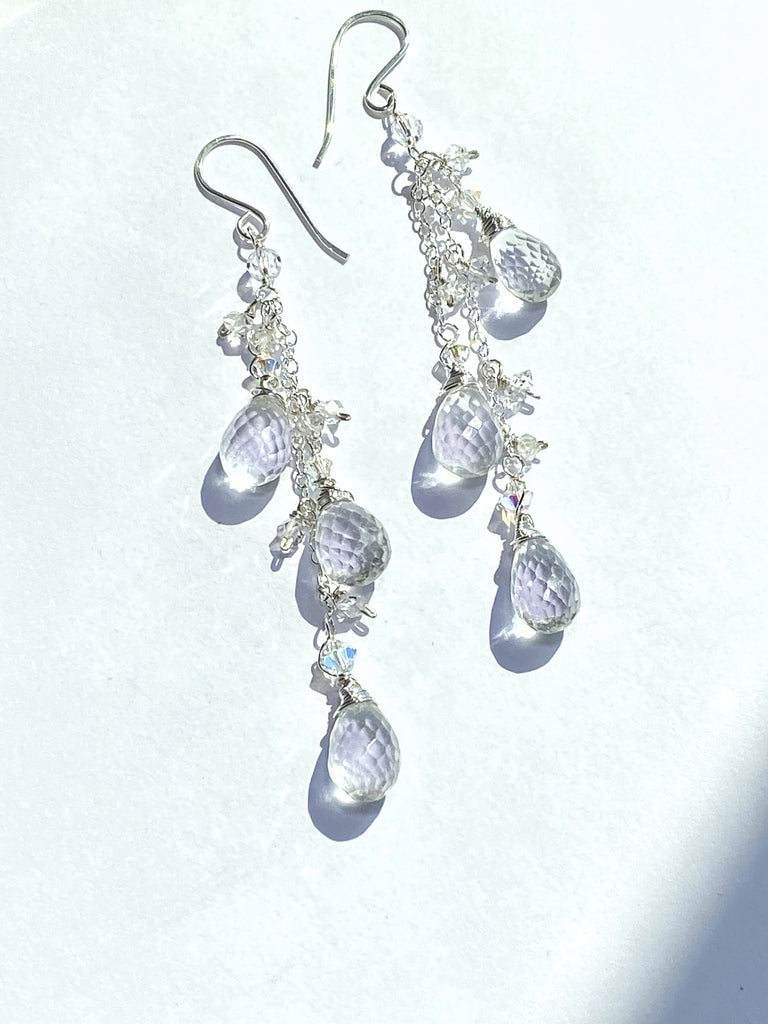 Crystal Quartz Long Dangle Earrings Sterling Silver Herkimer Diamond
