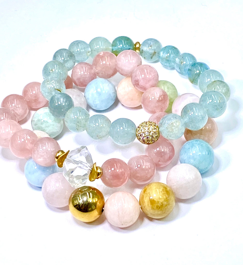 Pastel Multi-color Aquamarine Stretch Bracelet with Gold Ball - doolittlejewelry