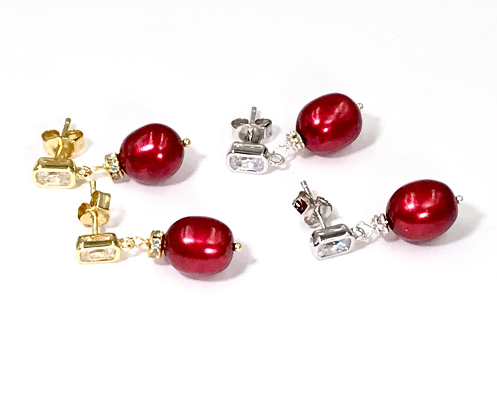 Red Burgundy Baroque Pearl and Gold Vermeil or Sterling Silver Earrings - doolittlejewelry