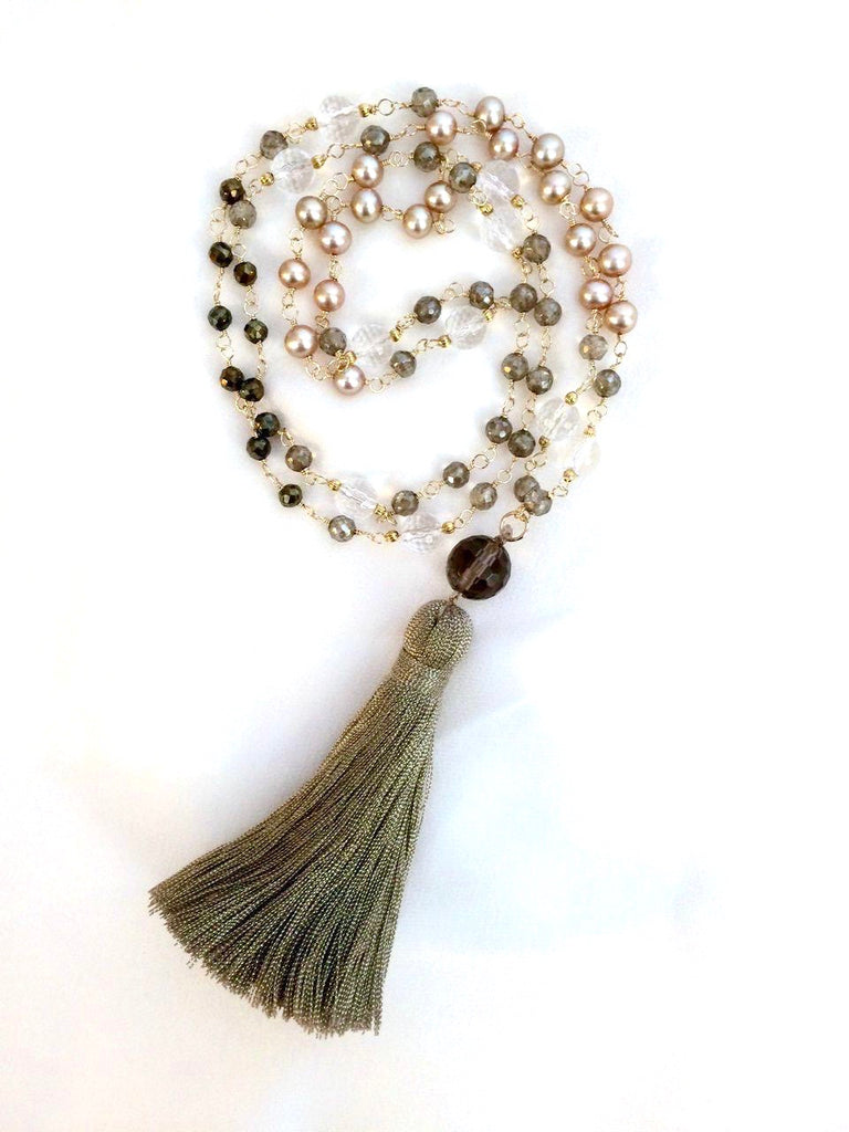 Wire Wrap Long Beaded Tassel Necklace - doolittlejewelry