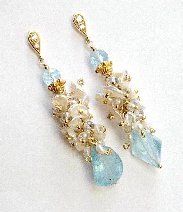 Keishi Pearl, Aquamarine and Blue Gemstone Earring - doolittlejewelry
