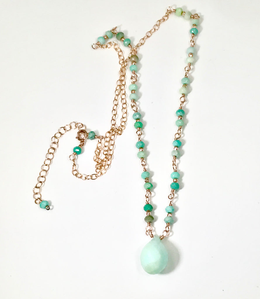 Green Peruvian Opal Rose Gold Layering Necklace - doolittlejewelry