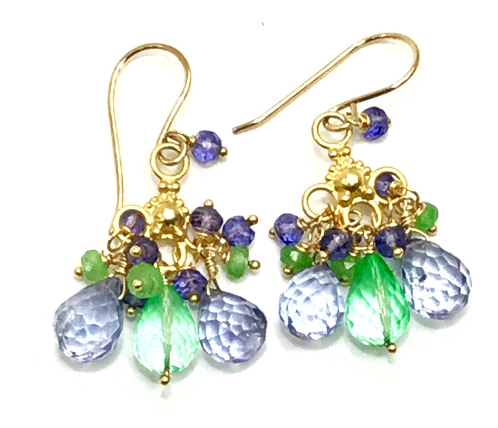 Green Blue Chandelier Earrings Gold Tsavorite Green Topaz