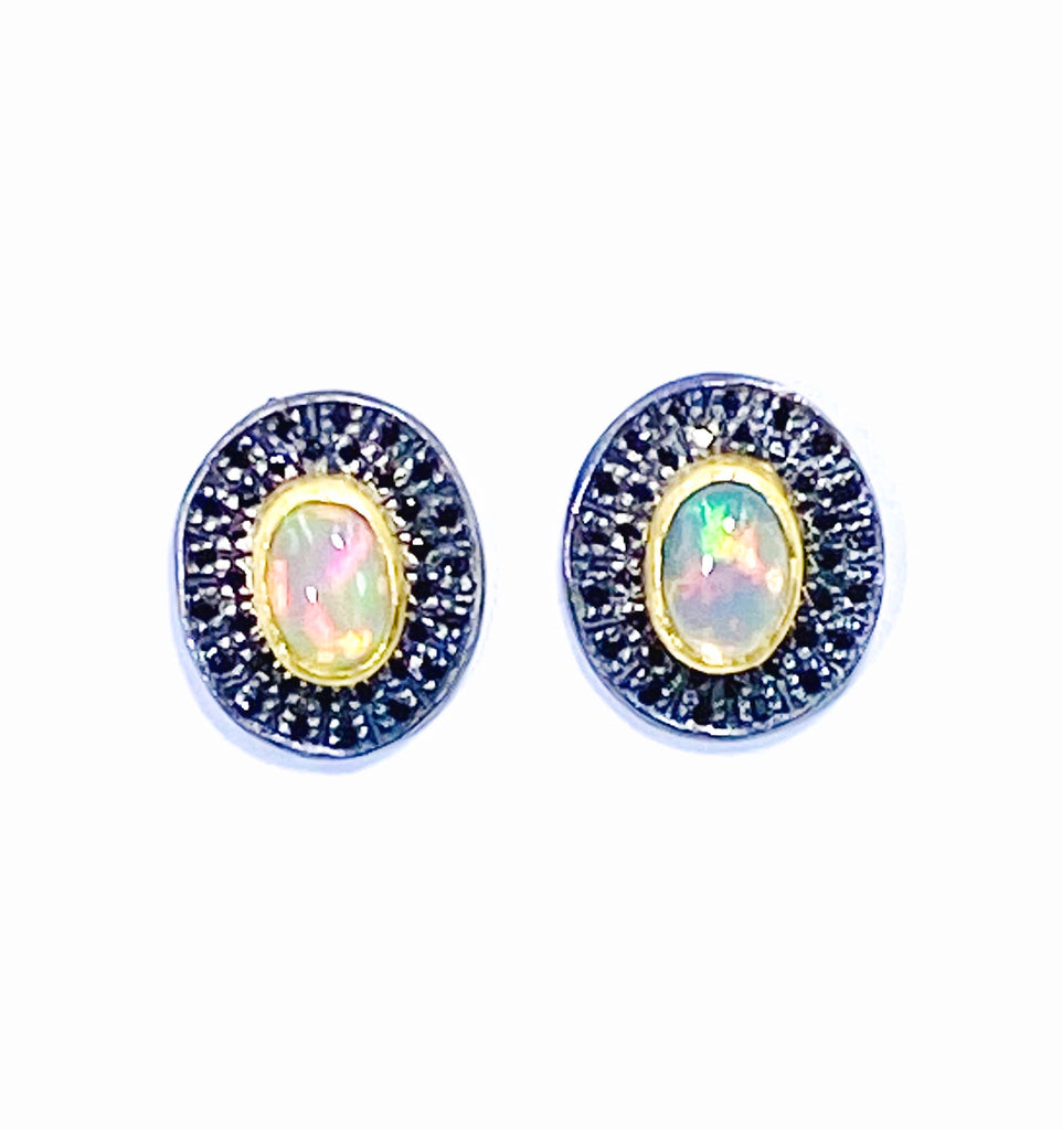 Opal and Pave Black Spinel Post Stud Earrings 22 kt Gold