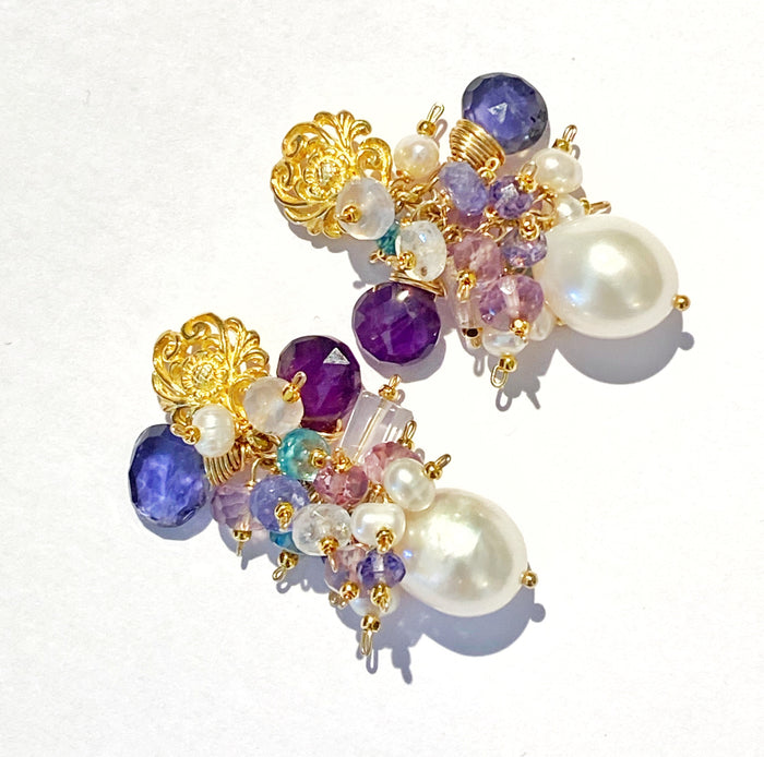 Gemstone Cluster Pearl Earrings Amethyst Iolite Gold Post