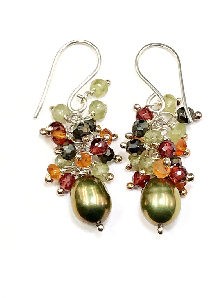 Olive Green Pearl Gemstone Cluster Earrings Sterling Silver