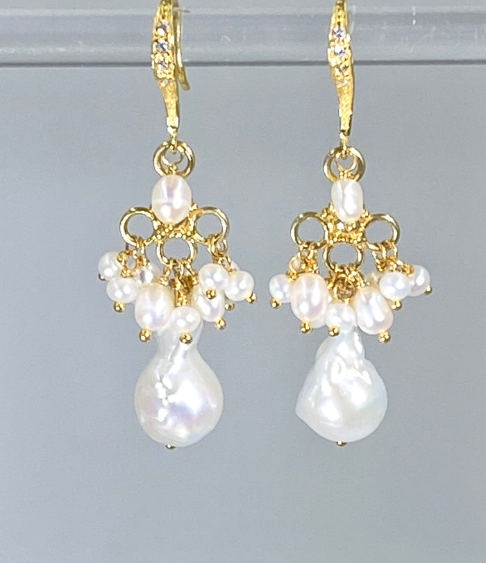Ivory Baroque Freshwater Pearl Chandelier Earrings - doolittlejewelry