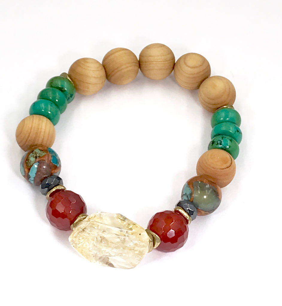 Colorful Earth Tone Stretch Stacking Bracelets Set of 3 Sandalwood Turquoise - doolittlejewelry
