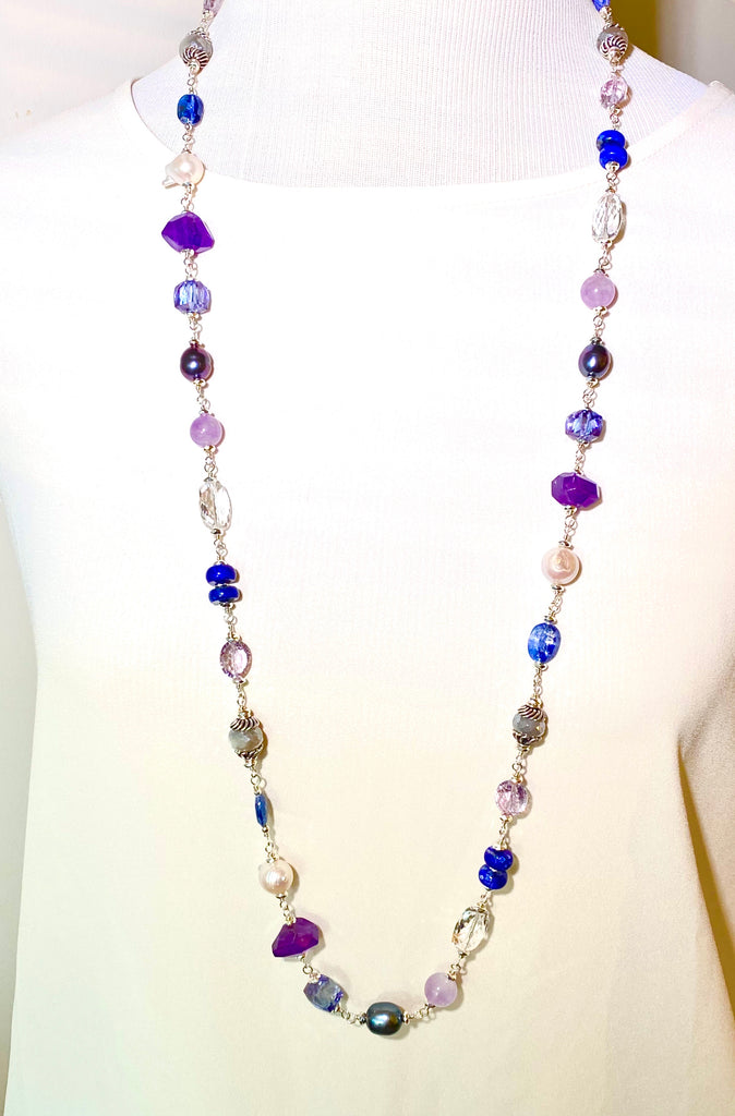 Long Blue Violet Necklace Amethyst Kyanite Pearl Crystal Quartz Sterling Silver - doolittlejewelry