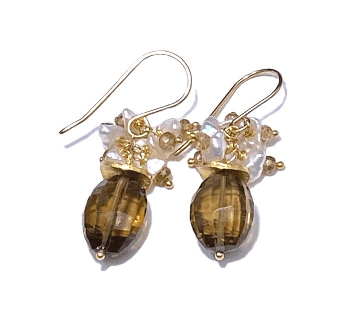 Whiskey Quartz Gemstone Tourmaline Pearl Cluster Earrings - doolittlejewelry