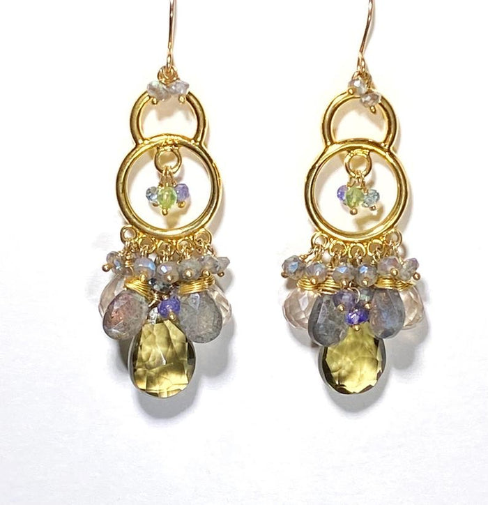 Gold Chandelier Earrings Lemon Quartz Labradorite