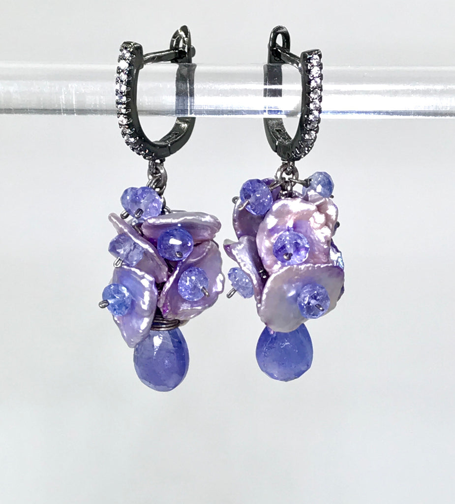 Tanzanite and Lavender Keishi Pearl Earrings Oxidized Silver - doolittlejewelry