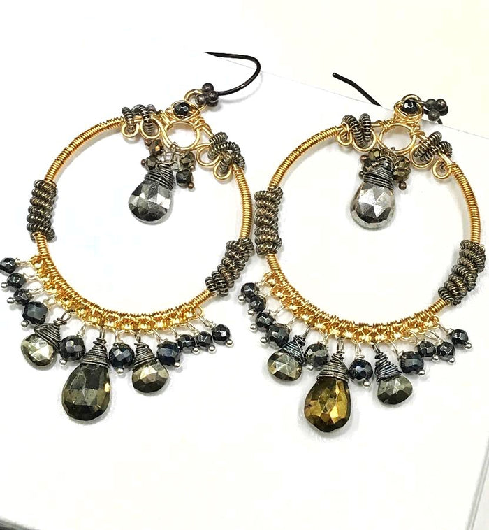 Gold Hoop Earrings with Pyrite Mixed Metals Coiled Silver