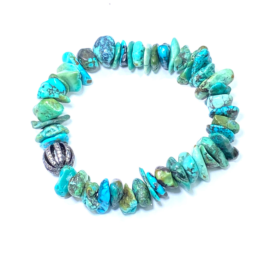 Turquoise Gemstone Stacking, Stretch Layering Bracelet - doolittlejewelry