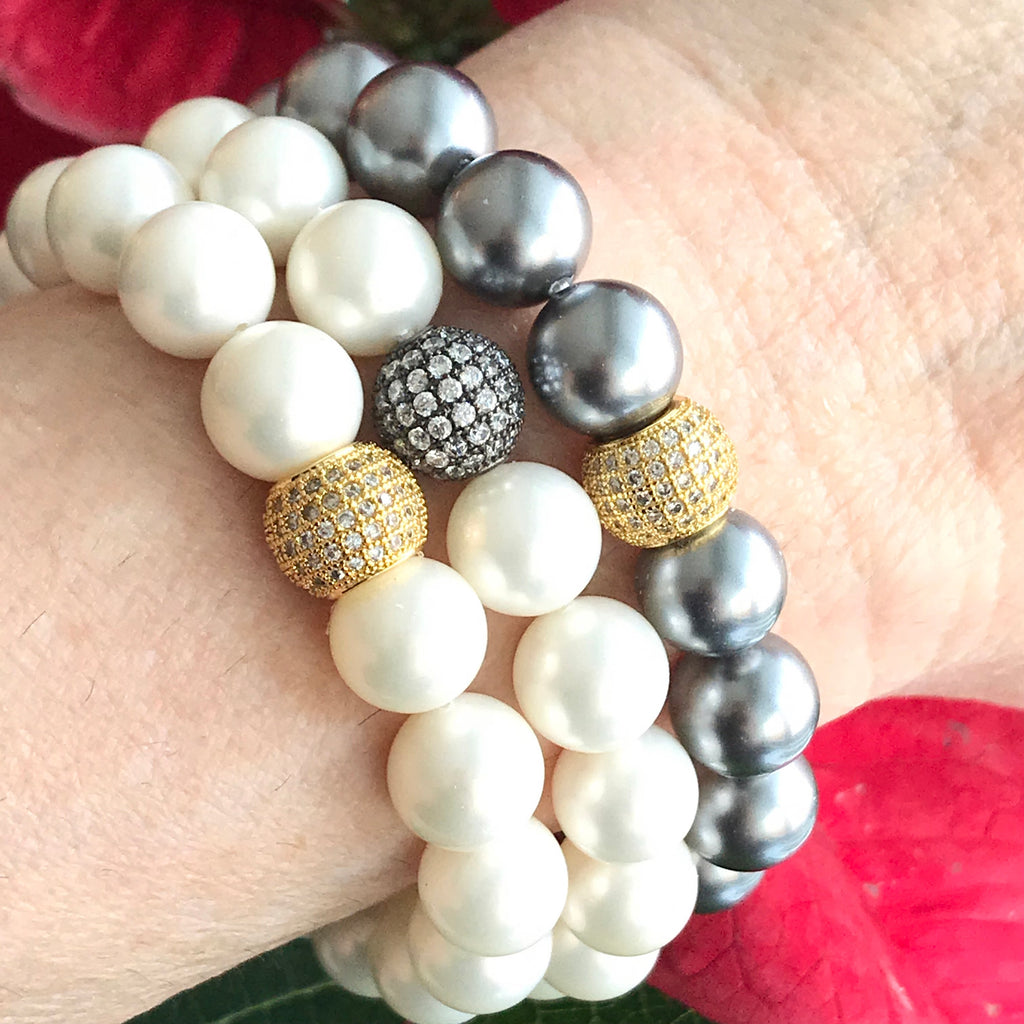 Black Grey Pearl Stretch Stacking Bracelet with Gold Pave CZ Bead - doolittlejewelry