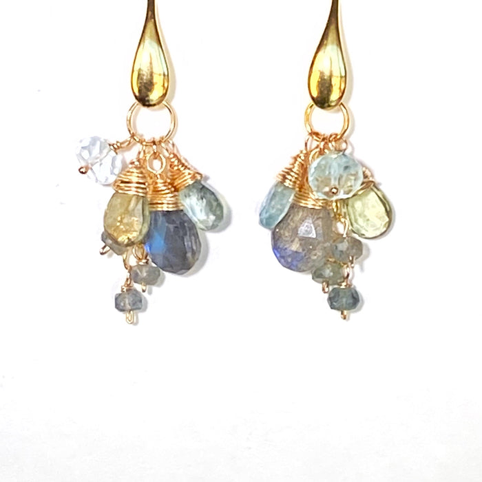Moss Aquamarine and Labradorite Dangle Earrings Gold
