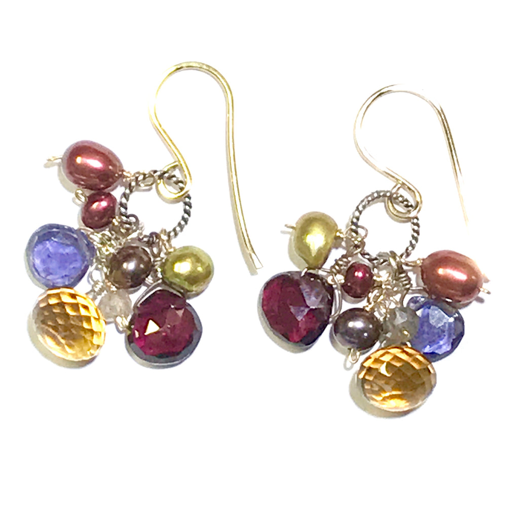 Multicolor Gemstone Dangle Earrings Iolite Garnet Pearl Mixed Metals - doolittlejewelry
