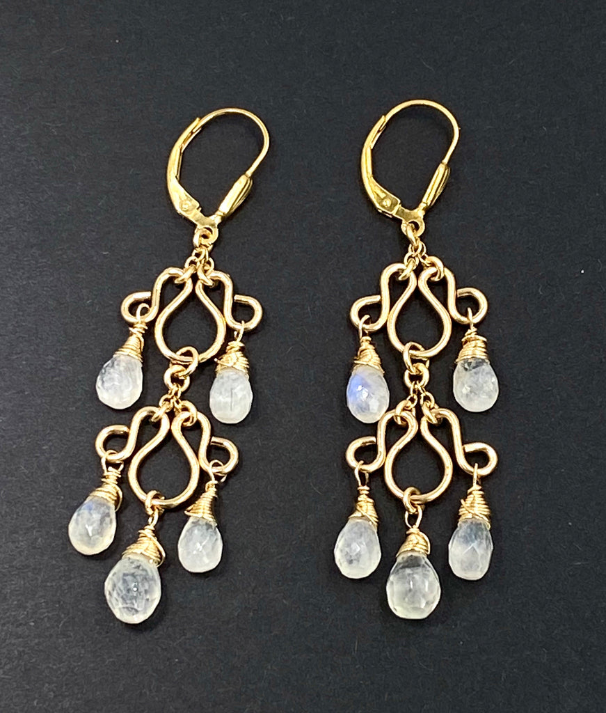 Rainbow Moonstone Gemstone Chandelier Earrings Gold Fill - doolittlejewelry