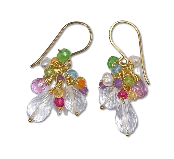 Crystal Quartz and Colorful Gemstone Cluster Earrings
