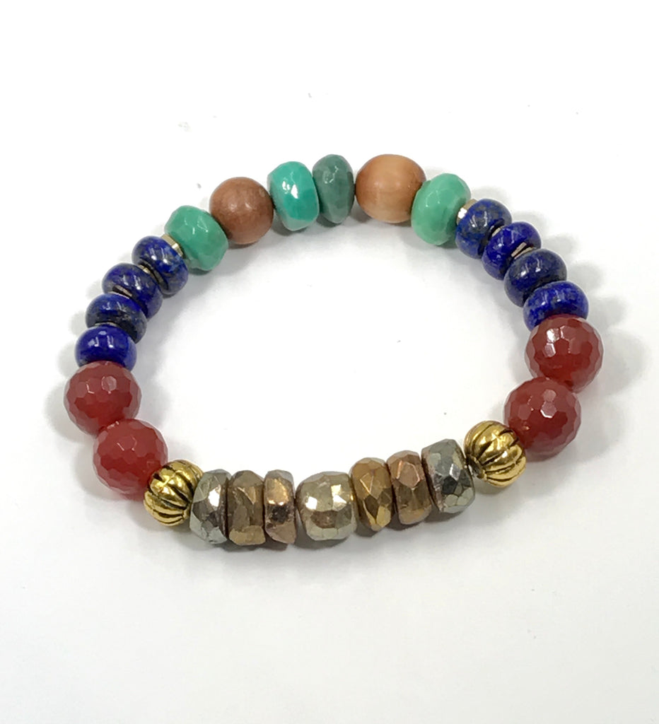 Stretch Beaded Bracelet Stack Set of 3 Carnelian Blue Lapis Gold Labradorite - doolittlejewelry