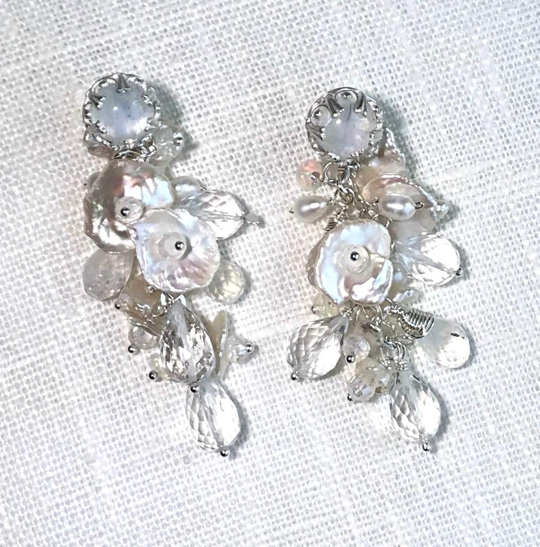 Sterling Silver, Crystal, Pearl and Moonstone Bridal Earrings - doolittlejewelry