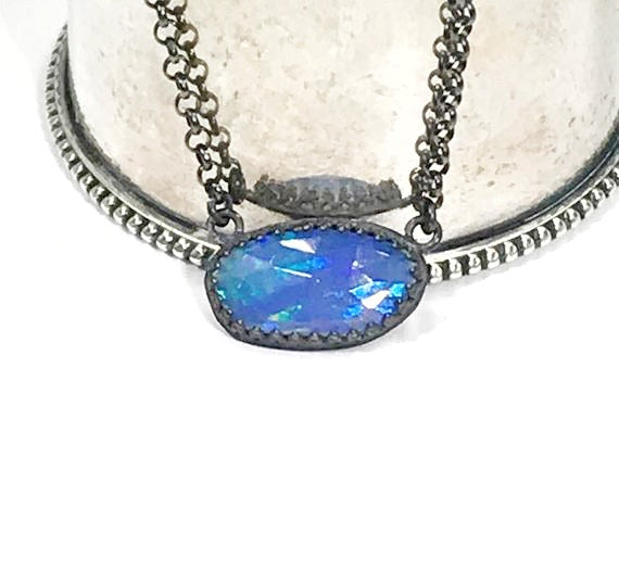 Ethiopian Opal Pendant Sideways Necklace
