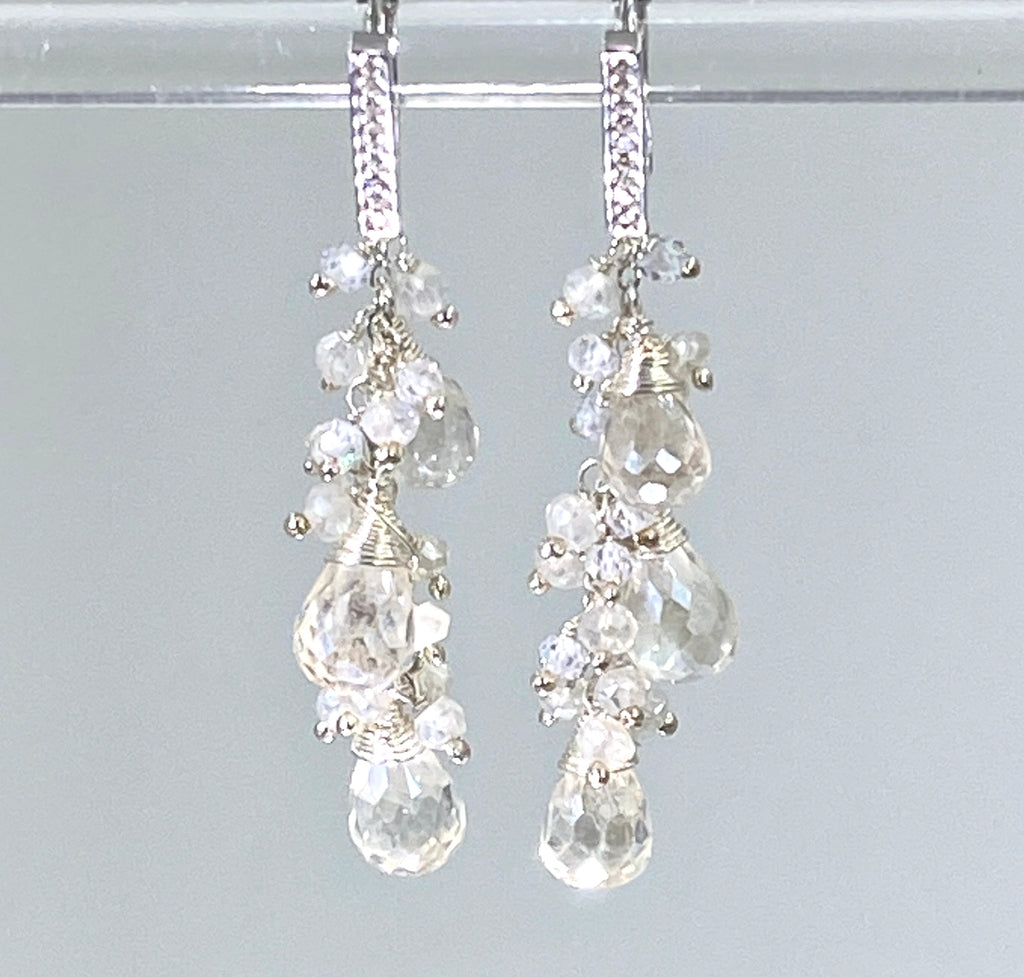 Sterling Silver and Mystic Clear Crystal Quartz Sparkle Wedding Earrings - doolittlejewelry