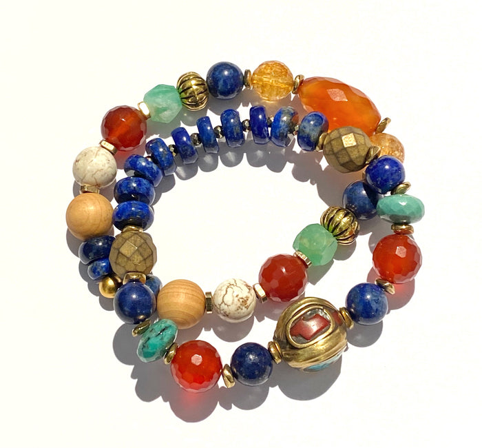Gemstone Stretch Bracelet Stack Set of 2 Blue Lapis, Carnelian, Chrysoprase 2