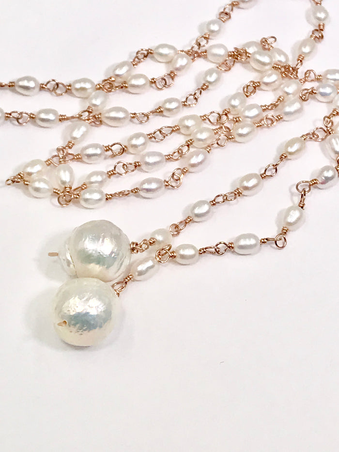 "Long Pearl Lariat Necklace Rose Gold Fill Wire Wrapped 32"" - doolittlejewelry"