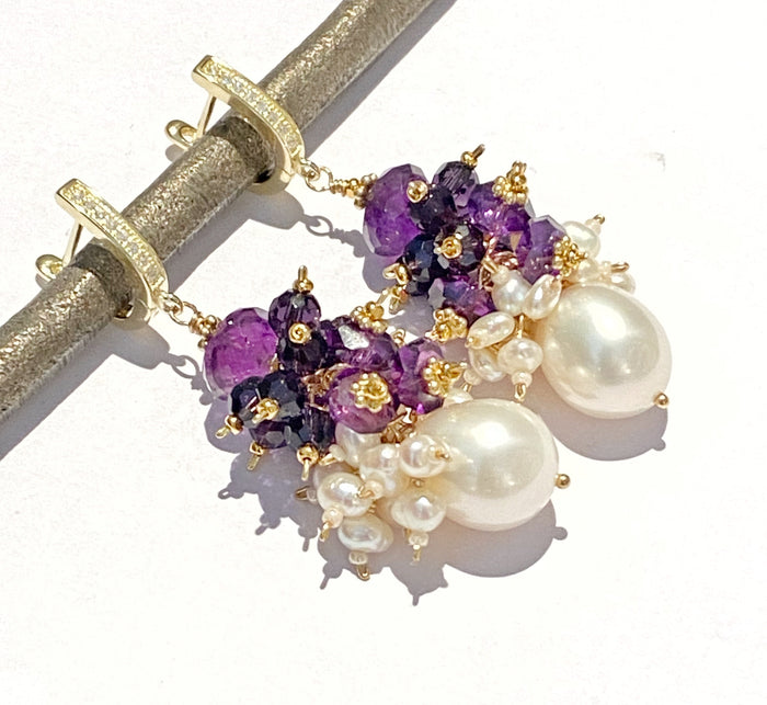 Amethyst Cluster Ivory Baroque Pearl Earrings