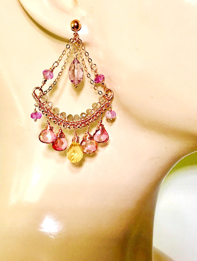 Rose Gold Gemstone Chandelier Earrings Pink Mystic Quartz Amethyst Citrine Labradorite
