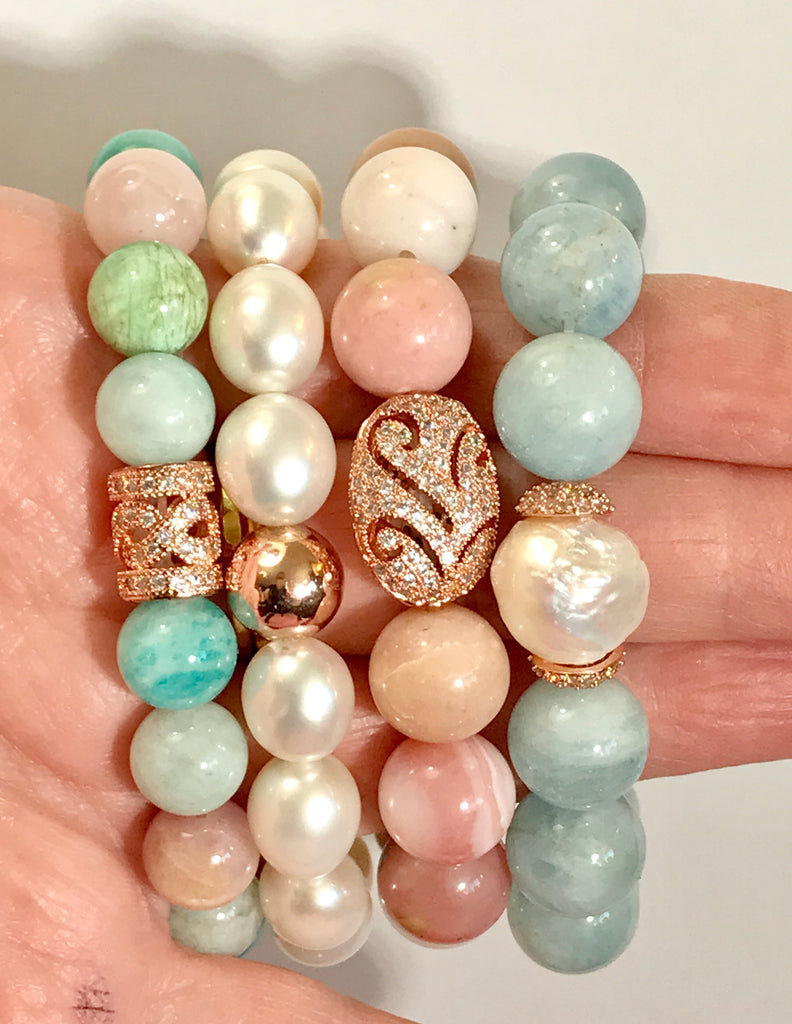 Blue Aquamarine and Pearl Stretch Bracelet with Rose Gold Pave CZ - doolittlejewelry