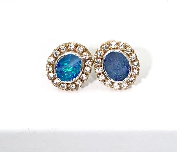 Lightning Ridge Black Opal Stud Earrings Sterling Silver - doolittlejewelry