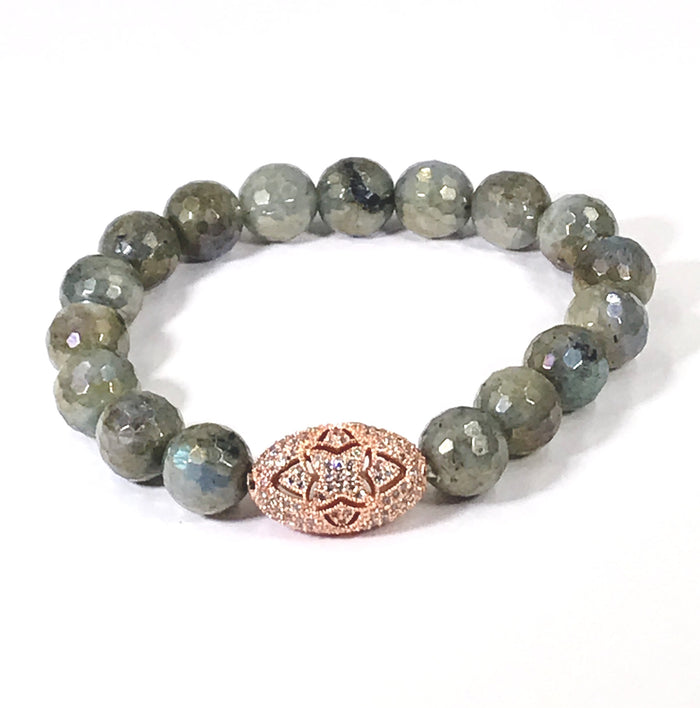 Labradorite and Rose Gold Pave CZ Beaded Stretch Bracelet - doolittlejewelry