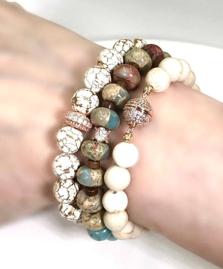 Rose Gold Stretch Beaded Bracelets - doolittlejewelry