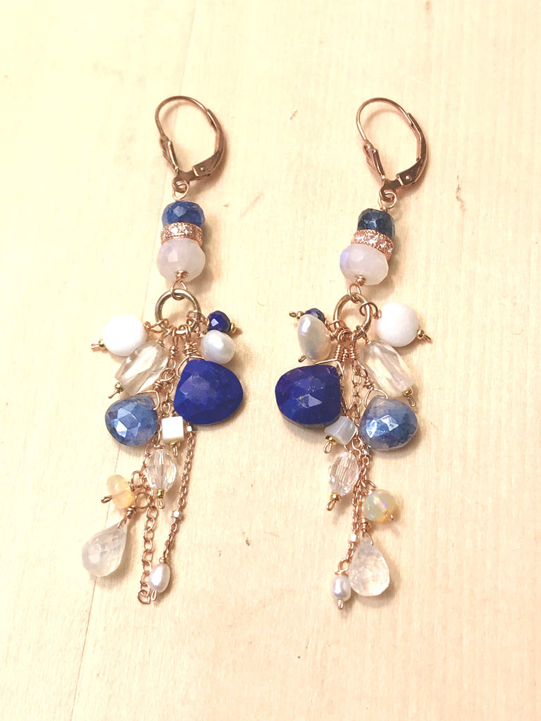 Rainbow Moonstone Blue Lapis Opal Rose Gold Long Boho Earrings Blue White - doolittlejewelry