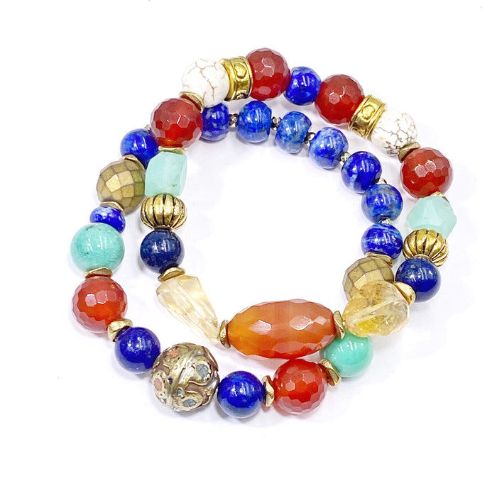 Gemstone Stretch Bracelet Stack Set of 2 Blue Lapis, Carnelian, Chrysoprase