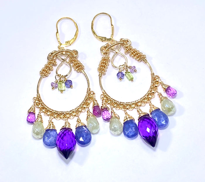 Gemstone Hoop Chandelier Earrings Gold Amethyst Tanzanite Prehnite Violet Quartz - doolittlejewelry