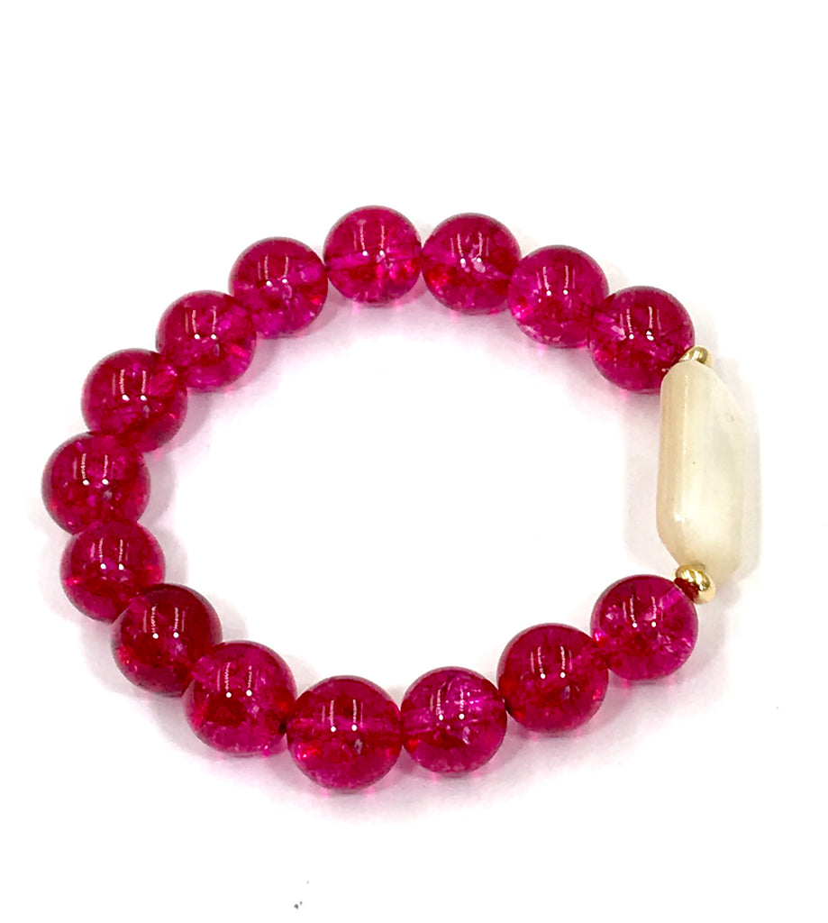 Hot Pink Fuschia Quartz Stretch Stacking Bracelet with Mother of Pearl - doolittlejewelry