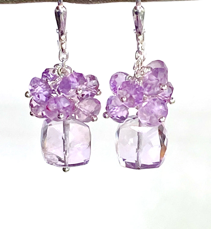Pink Amethyst Cube Gemstone Cluster Earrings Sterling Silver - doolittlejewelry
