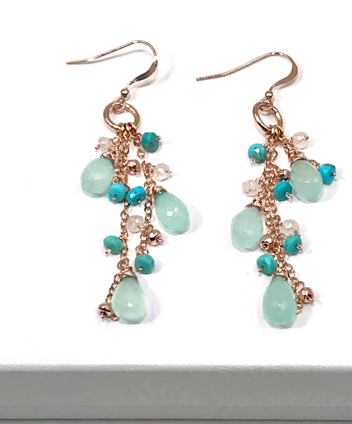Aqua Chalcedony Rose Gold Long Dangle Earrings - doolittlejewelry