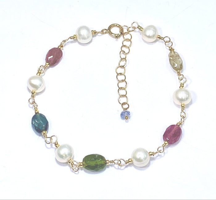 Tourmaline and Pearl Wire Wrapped Bracelet in Gold Fill Adjustable - doolittlejewelry