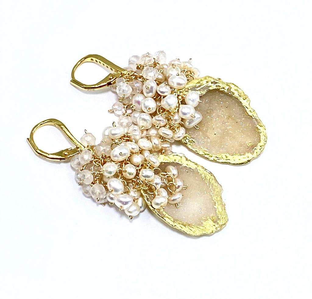 Ivory Beige Tabasco Geode Pearl Cluster 24 kt Gold Leaf Earrings