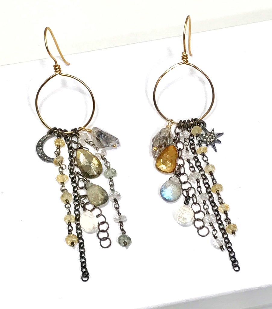 Diamond Charm Boho Dangle Earrings Mixed Metals Labradorite Moonstone