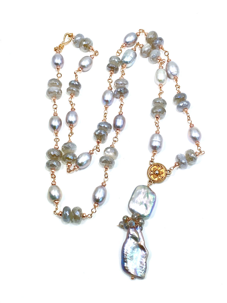 Rose Gold Silver Grey Pearl Moonstone Gemstone Long Necklace Sautoir - doolittlejewelry