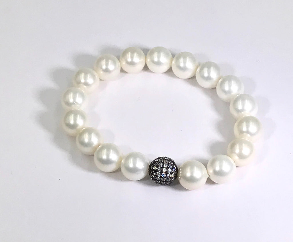 White Pearl Stretch Stacking Bracelet with Oxidized Silver Clear Pave CZ Bead - doolittlejewelry
