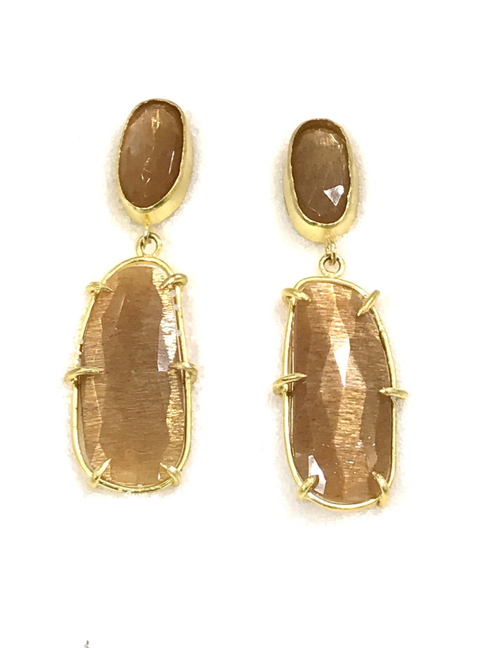 Sunstone 22kt Gold Prong Set Post Dangle Earrings - doolittlejewelry