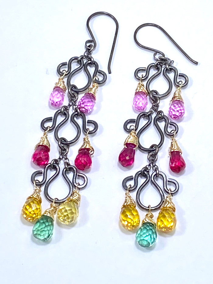 Multi-color Long Chandelier Earrings Oxidized Silver Colorful Corundum Quartz - doolittlejewelry