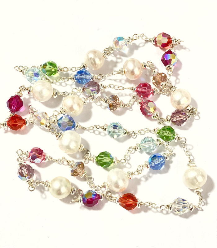 Long Pearl Swarovski Crystal Sautoir Sterling Silver Necklace